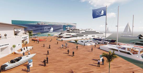 Eine near virtual reality Plattform, mit einer großen und offenen Eingangshalle im Stil einer schönen Marina.
