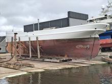 Der Werftaufenthalt in Dänemark war nach der Kollision des Schoners mit einem Frachter auf der Elbe notwendig geworden.