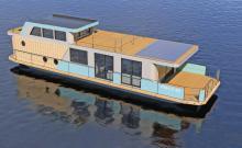 Das neue Hausboot von i-Yacht für die Kieler Rathje-Werft.