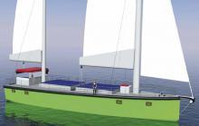Der neue, kleine Frachtensegler unterscheidet sich durch ein leicht zu bedienendes Rigg und einer modernen Rumpfform von den klassischen Rahseglern, den letzten eingesetzten Frachtschiffen unter Segeln.