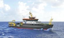 """Das neue Forschungsschiff """"Atair"""" wird 74 Meter lang werden. Die neuen Polizeikreuzer werden 86 Meter lang. Darunter zum Vergleich die jetzigen Polizeiboote."""