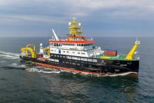 """Optimal für die Forschung der Meere: Rumpfform und Propeller des neuen 75 Meter langen Forschungsschiffes """"Atair"""" reduzieren die Unterwassergeräusche während der Fahrt."""