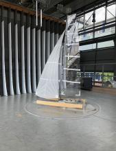 Segelmessungen im Twist Flow Windkanal. Durch seine Bauart berücksichtigt der Windkanal den natürlichen Twist.