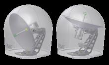 DSi13PRO bei -20° und +120°: Mit einer Elevation von 120 Grad kann die Antenne auch problemlos hochstehende Satelliten über Kopf tracken. Bei der Entwicklung wurde großer Augenmerk auf die bestmögliche Balance gelegt, sodass im Resultat eine vergleichbar leichte, aber sehr stabile Mechanik entstanden ist. Die PRO Antennen wird es mit den Spiegelgrößen 60cm, 90cm und 130cm geben und jeweils als VSAT oder TVRO.